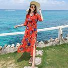 *魔法之城*L33242海邊度假沙灘裙子女波西米亞連衣裙