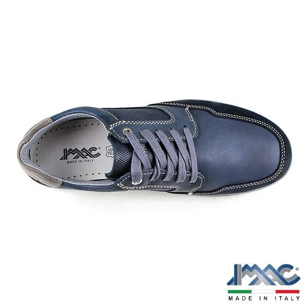 【IMAC】義大利牛皮氣墊綁帶休閒運動鞋  藍色(70550-BU)