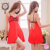 睡衣 性感睡衣 大紅側開襟露背柔斷情趣性感睡衣 星光密碼C020