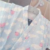 純棉紗布童和服套裝睡衣汗蒸溫泉氣球藍色gogo購