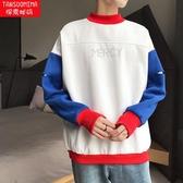 加絨加厚秋冬季長袖T恤男士韓版秋衣服打底衫潮流圓領小衫大學T男