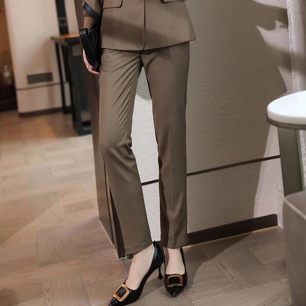 棕色上班西裝直筒褲[21X107-PF]美之札