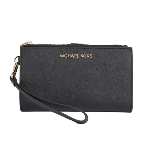 Michael Kors 雙拉鍊防刮皮革金色字母手拿手機長夾(黑色)