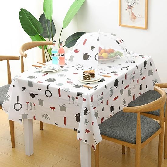 防油桌布 餐桌布 桌巾 長桌巾 防塵套 防水 餐桌布 PEVA 可裁剪 北歐風 繽紛印花桌布【X026】慢思行