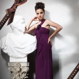 東京衣服 雅典娜女神 流星水鑽單肩帶 垂墜波浪長禮服 新娘 伴娘 演奏會 深紫