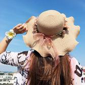 遮陽帽防曬太陽帽大沿草帽花朵波浪沙灘帽子m108