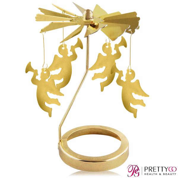 O Pretty 歐沛媞 歐式旋轉燭罩蠟燭台(金)-經典天使 限量加贈YANKEE CANDLE 香氛蠟燭【美麗購】