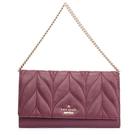 Kate Spade Milou Briar車線壓紋皮革鏈帶手挽包晚宴包長夾(紫紅色)221027