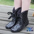 雨鞋雨靴蝴蝶結系帶水靴套鞋簡約創意時尚短...