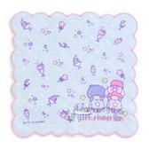 〔小禮堂〕雙子星 純棉小方巾《藍.甜點.花邊》25x25cm.手帕.澡晨時光系列 4901610-56875