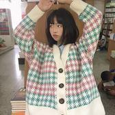 秋冬季韓版百搭慵懶風寬鬆粗毛線中長針織開衫外套chic毛衣學生女  檸檬衣舍