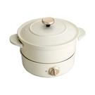 【BRUNO】調理鍋 煮 炒 蒸 炸 多功能烤鍋-白色 BOE029-IRONLID(公司貨)
