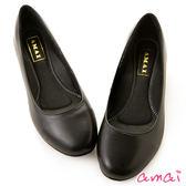 amai職場工作鞋。真羊皮柔軟夾心寬圓頭低跟鞋 黑