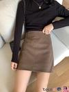 熱賣短裙 早春季新款高腰包臀半身裙女黑色A字短裙顯瘦裙子外穿 coco