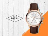 【時間道】FOSSIL經典簡約兩眼計時腕錶 /白面玫瑰金刻紅棕皮帶 (FS5468)免運費