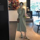 熱銷衛衣裙韓版寬鬆連帽過膝長款衛衣裙女春秋2020新款網紅薄款慵懶風連身裙