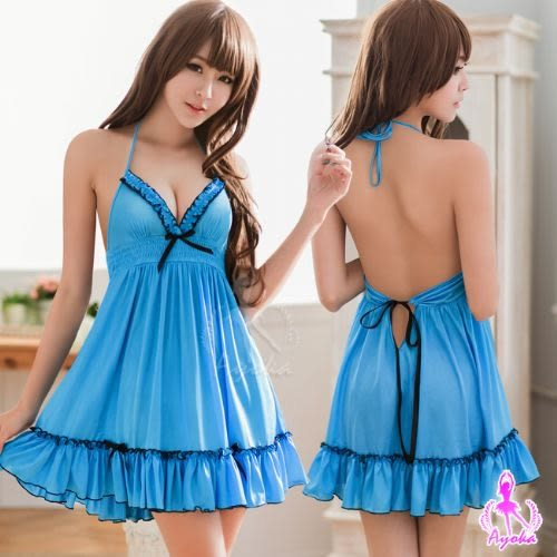 寶藍色綁脖美背柔緞睡衣 (OS小舖)