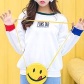 現貨-T恤-拼色袖刺繡FUNS加絨上衣 Kiwi Shop奇異果1109【SPK8283】