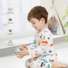 兒童睡衣 寶寶睡衣夏季薄款男童女童長袖居家女男孩兒童純棉空調家居服套裝 瑪麗蘇