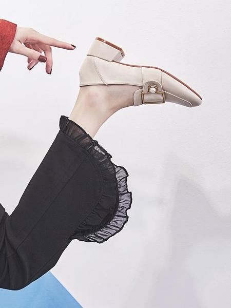 樂福鞋 粗跟單鞋女好康春秋新品軟妹小皮鞋仙女百搭正韓一腳蹬中跟樂福鞋