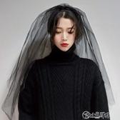 黑色頭紗女新娘網紅拍照道具復古頭紗頭飾超仙森系韓式短款 小城驛站