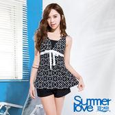 【SUMMERLOVE夏之戀】加大碼黑白幾何長版三件式泳裝(S16713)