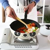 熊貓鍋麥飯石不粘鍋炒鍋雪花酥平底鍋煎鍋家用炒菜燃氣灶電磁爐用