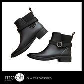 切爾西短筒雨靴 歐美復古英倫質感皮帶扣低跟搭扣鬆緊短靴雨鞋 mo.oh (歐美鞋款)