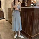 夏季2021新款韓版修身吊帶連身裙女開叉v領無袖氣質針織中長裙潮