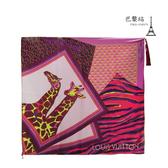 【巴黎站二手名牌專賣店】*現貨*LV 路易威登 真品*長頸鹿圖樣 流蘇飾紫色方巾絲巾(88x88)