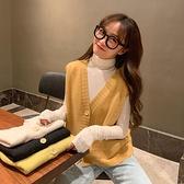 短款針織背心馬甲女秋季韓版無袖學生馬夾外穿毛衣開衫外套坎肩潮