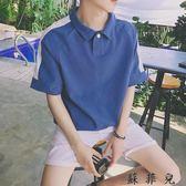 短袖t恤韓版潮流bf風寬鬆polo衫