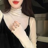 高領蕾絲打底衫女新款港味長袖T恤透明網紗內搭超仙上衣 快速出貨