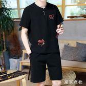 夏季短袖T恤套裝棉麻圓領刺繡t恤男士中國風唐裝佛系休閒套 QQ30221『東京衣社』