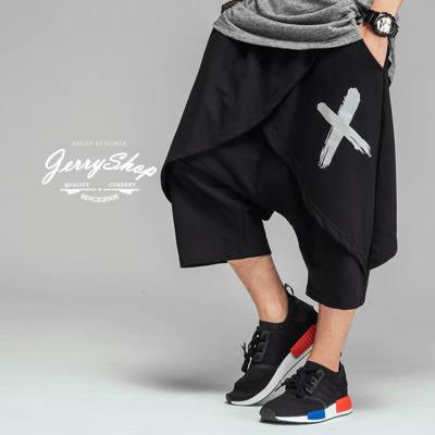 短褲 JerryShop【XX02026】X剪裁潮流裙褲短褲 (1色) 運動 歐美 棉質 GD 現貨+預購