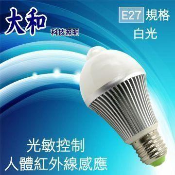 [家事達] TRENY-8708 E27-LED 5w 人體燈泡 + 插頭轉頭燈 緊急照明燈 特價 自動感光