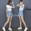 短褲套裝女夏季時尚新款牛仔褲兩件套