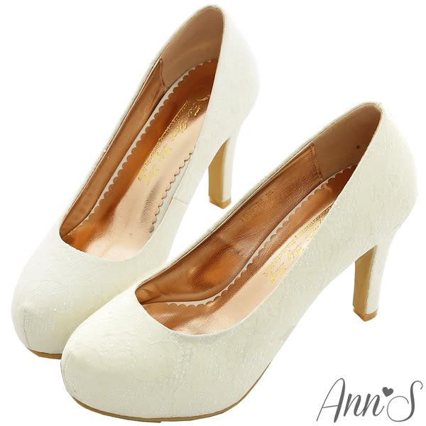 Ann'S Bridal幸福婚鞋粉戀巴黎蕾絲厚底跟鞋-白