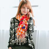 100%純羊毛圍巾/披肩【IMACO】時尚俏麗(橘)