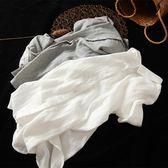 文藝復古寬鬆雙層棉麻白色襯衫女長袖