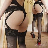 絲襪 網襪 黑色吊帶襪一體成型不滑落 側交叉蕾絲連身褲襪 愛衣朵拉