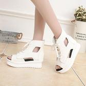 夏季新款韓版大童學生初中生魚嘴涼鞋韓版時尚平底平跟女鞋『潮流世家』