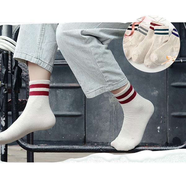 襪子 日韓流行 學院女孩棉質條紋中筒襪 短襪 優質面料 健康舒適 休閒 好搭     【FSW091】-收納女王
