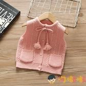 女童開衫針織小馬甲秋裝寶寶馬夾背心毛衣兒童外套女外穿【淘嘟嘟】