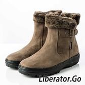 【Liberator】女中筒防潑水翻毛拉鍊雪鞋『土棕』L5026 (冰爪 / 內厚鋪毛 /防滑鞋底) 雪地靴.保暖.抗寒