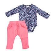 Carter s 長袖套裝 包屁衣+長褲二件組深藍花粉褲 女寶寶【CA121H701】