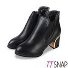 完美微尖鞋楦x側邊鬆緊帶設計 6.5公分粗中跟電鍍金面鞋跟,時尚有型 素面細緻牛紋皮革,優雅品味佳