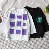 情侶裝2018夏裝新款趣味印花韓版寬鬆百搭短袖t恤女上衣學生班服