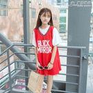 中長款球衣夏季韓版寬鬆假兩件bf運動短袖中長款閨蜜籃球衣t恤裙女學生  曼莎時尚