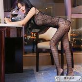 黑色網襪連體性感全身絲襪騷情趣內衣女透明日系大碼胖mm吊帶套裝